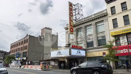 Apollo Theater in Harlem - time-lapse during the day of 125th Street uptown in 4K  and 1080 HD NYC
