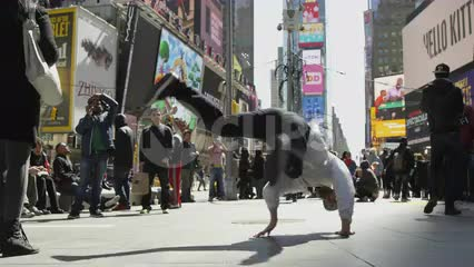 breakdancer doing windmills in Times Square - slow motion hip hop breakdancing in 1080 HD and 4K NYC