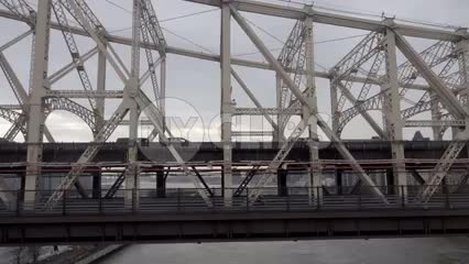 cars crossing Queensboro Bridge in slow motion over the East River - close-up in 1080 HD in New York City