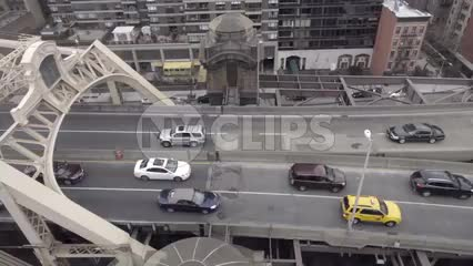 aerial view of cars driving on Queensboro Bridge from tram moving in slow motion 1080 HD in NYC