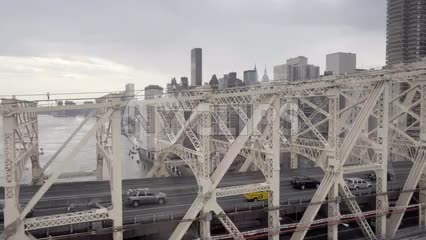 Queensboro Bridge with view of Manhattan skyline, Empire State Building during day in 1080 HD NYC