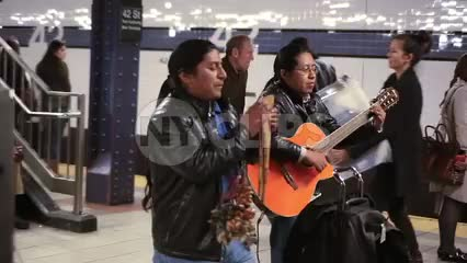 Mexican musicians playing music in subway station 1080 HD in New York City