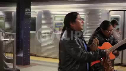 musicians playing Mexican music on subway station platform 1080 HD in NYC