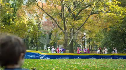 people watching Marathon runners in Central Park with colorful changing leaves on grass 1080 HD in NYC
