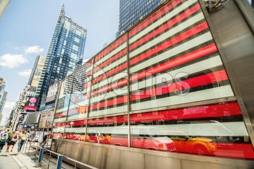 Times Square American flag LED light, Armed Forces recruiting center in Manhattan NYC in HDR