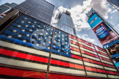 American flag LED building in Times Square in Manhattan NYC