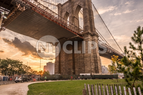 view under Brooklyn Bridge with green grass in park at sunset in NYC