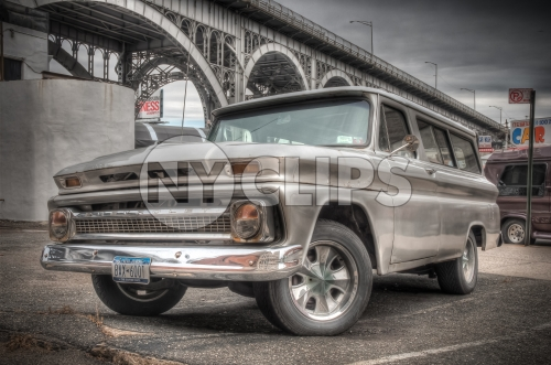 Chevrolet in parked in Harlem carwash by bridge - Chevy in HDR
