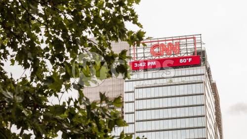 CNN Building in Columbus Circle on cloudy day
