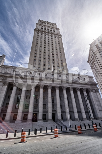 courthouse in Downtown Manhattan on sunny day in HDR