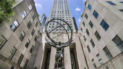 Atlas statue from front of Rockefeller Center in Midtown Manhattan - time-lapse in 4K and 1080 HD NYC