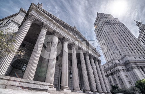 pillars of Manhattan Appellate Court - courthouse columns in downtown on sunny day in HDR
