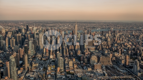 aerial view of Manhattan buildings from helicopter - Empire State Building and skyscrapers in NYC