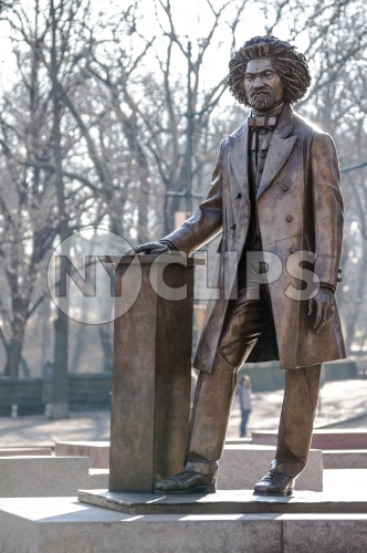 Frederick Douglass statue - medium shot in Harlem