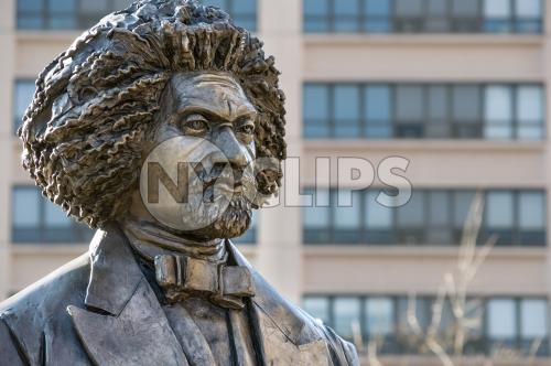 Frederick Douglass statue closeup in Harlem
