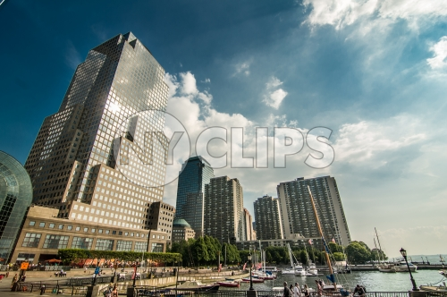 North Cove Yacht Harbor in Downtown Manhattan by Hudson River on bright sunny day