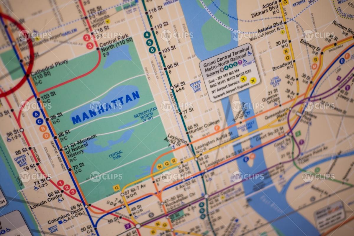 Columbus Circle Subway Map.Mta Subway Map Of Manhattan With Central Park Illustration Ny Clips