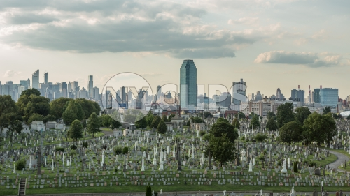 Calvary Cemetery with view of Manhattan skyline from Queens NY