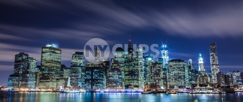 Manhattan skyline with Freedom Tower at night in HDR