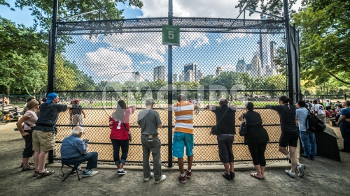 baseball field in Central Park with people watching through fence behind home plate on summer day