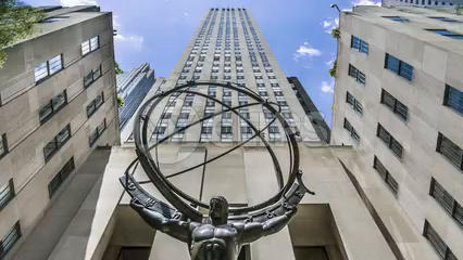Atlas statue tilting down from Rockefeller Center - timelapse in Manhattan 1080 HD in NYC