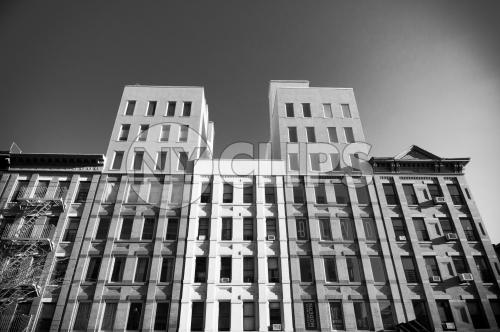 interesting black and white shot of buildings in Harlem Uptown Manhattan