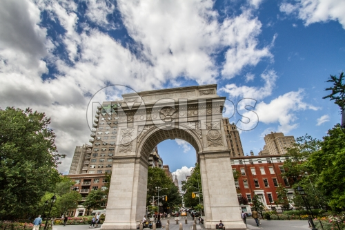 arch in Washington Square Park on beautiful summer day with blue sky