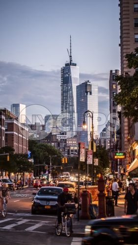 Freedom Tower at sunset view from 6th ave in early evening in summer