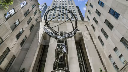 famous Atlas statue at landmark Rockefeller Center - time-lapse in Midtown Manhattan 1080 HD in NYC
