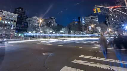 Union Square at night in HDR - timelapse with streaks of light, motion blur cars sped up