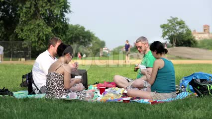 people having picnic in Central Park on summer day - 4 friends playing cards and eating on green grass in 1080 HD