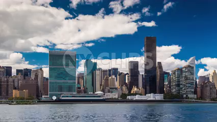 UN Building in Manhattan skyline during day - 4K timelapse in HDR