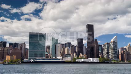 United Nations Building in skyline during day - 4K timelapse of Manhattan