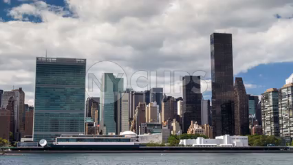 United Nations Building and skyscrapers in Manhattan skyline during day - 4K timelapse
