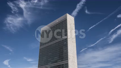 side angle view of isolated UN Building in Manhattan - 4K timelapse