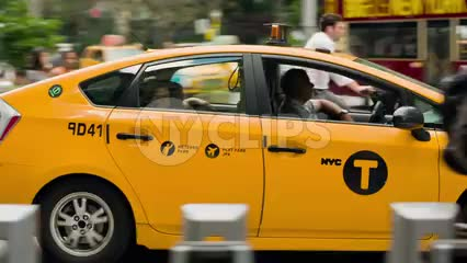 hybrid taxicab in summer