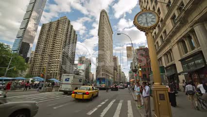 Flatiron Building in Manhattan on 5th Ave on summer day