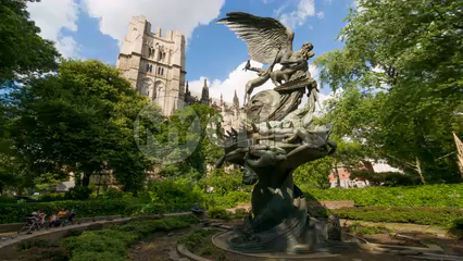 Angel Statue in front of Saint John the Divine - 4K timelapse in NYC