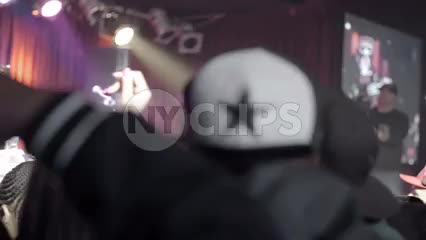 crowd at hip hop show in NYC - people with hands in the air in slow motion