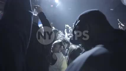 crazy hip hop crowd cheering - watching music concert, fans standing