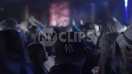hip hop fans with Yankee hat watching rap show in crowd, fans standing in front of stage