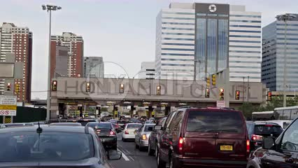 panning cars in traffic - lined up entering Holland Tunnel