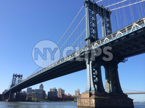 Manhattan Bridge from low view on East River