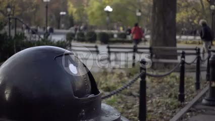 closeup of garbage can - trash bin in Washington Square Park on fall day
