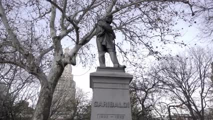 Garibaldi statue in Washington Square Park on cold fall day