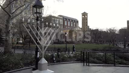 large Hanukah Menorah in Washington Square Park on winter day