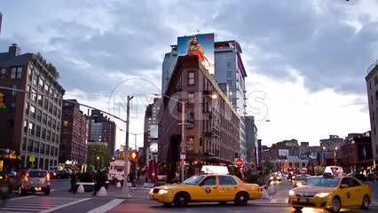 busy corner in Meatpacking District in early evening