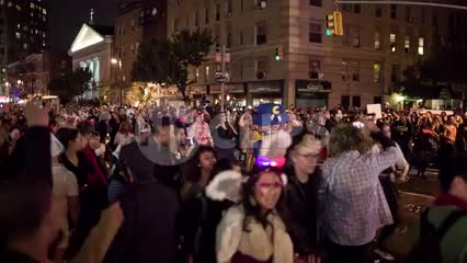 synchronized Michael Jackson Thriller dance choreography in Halloween parade in Greenwich Village