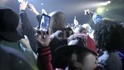 crowd watching and recording Mobb Deep on stage - Prodigy and Havoc rapping at show