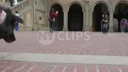 man walking dog and tourist taking picture of friends in Central Park outside Bethesda Terrace arches in slow motion